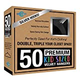 Closet Complete Kids Size, Premium Heavyweight, Virtually-UNBREAKABLE, Velvet Hangers – Ultra-Thin, Space Saving, No-Slip, 360º Spin, Perfectly Sized For Kids 4-15 years, Black, Set of 50