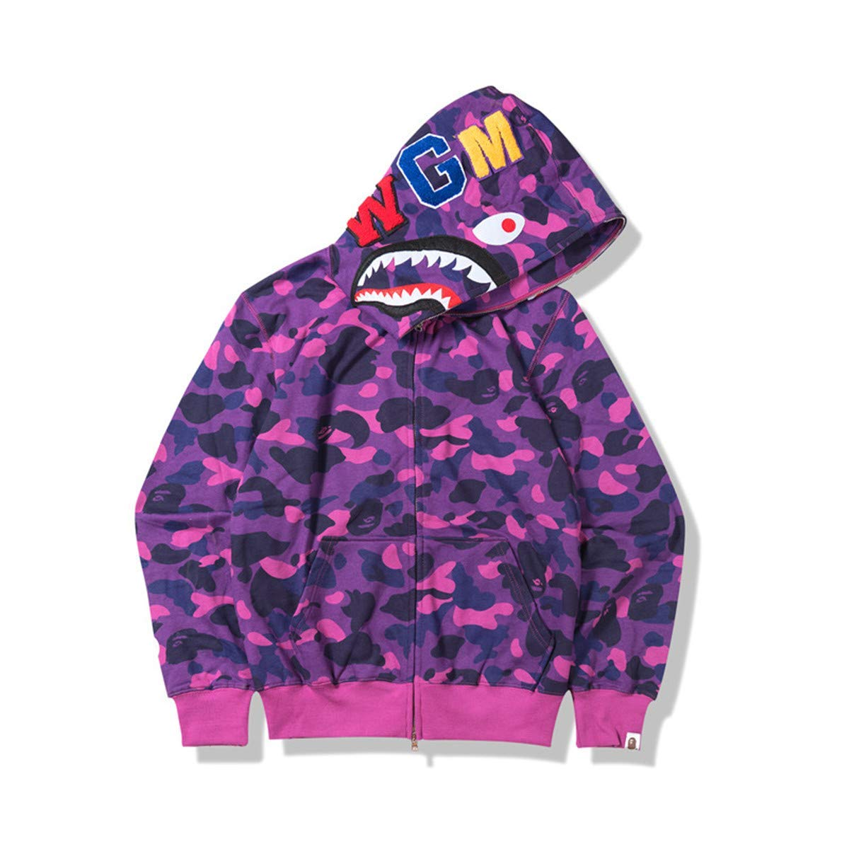 ea5123ed30a2 Amazon.com  Men s A Bathing Ape BAPE Shark Head Thin Coat Full Zipper Camouflage  Jacket Hoodie  Clothing