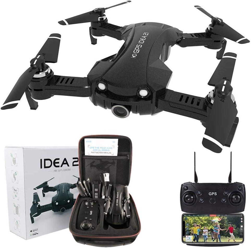 le-idea IDEA21 Drone con Camara HD, 4K Drones con Camara Profesional Estabilizador GPS, 5G WiFi FPV Drone Tiempo Real, Largo Tiempo de Vuelo Drone 16 Minutos Drone Plegable RC