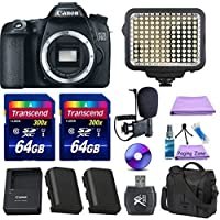 Canon EOS 70D Digital SLR Camera with Battery, 2 Piece 64GB Memory Cards, Case, LED Light and Cleaning Kit