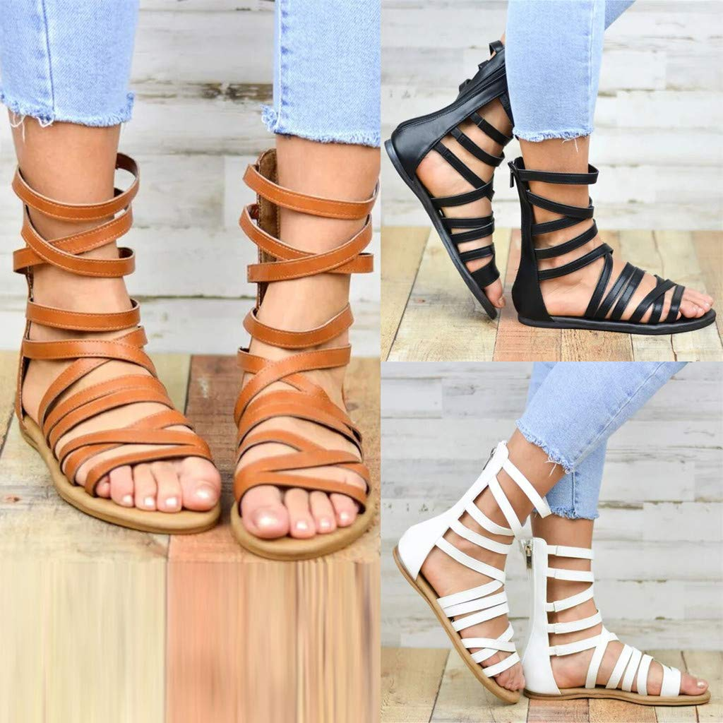 Damen Gladiator Sandalen R/ömersandalen Cage Flach Summer Bequem Strand Schuhe Peep Toe Schn/ürschuhe Rei/ßverschluss Strandschuhe