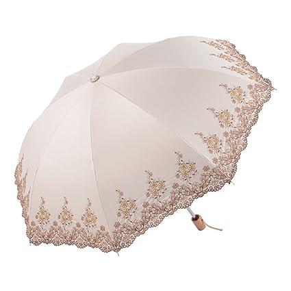 YUSANZXM GRJH® Torsiones y vueltas bordados Paraguas Protectores solares de vinilo Anti-UV Sombrilla