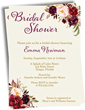 Amazon Com Floral Bridal Shower Invitations Burgundy Blooms Wedding Invites Botanical Watercolor Flowers Vintage Rescheduled Event Save The Date Postponed Printed Customized Personalized Custom Cards 10 Count Office Products