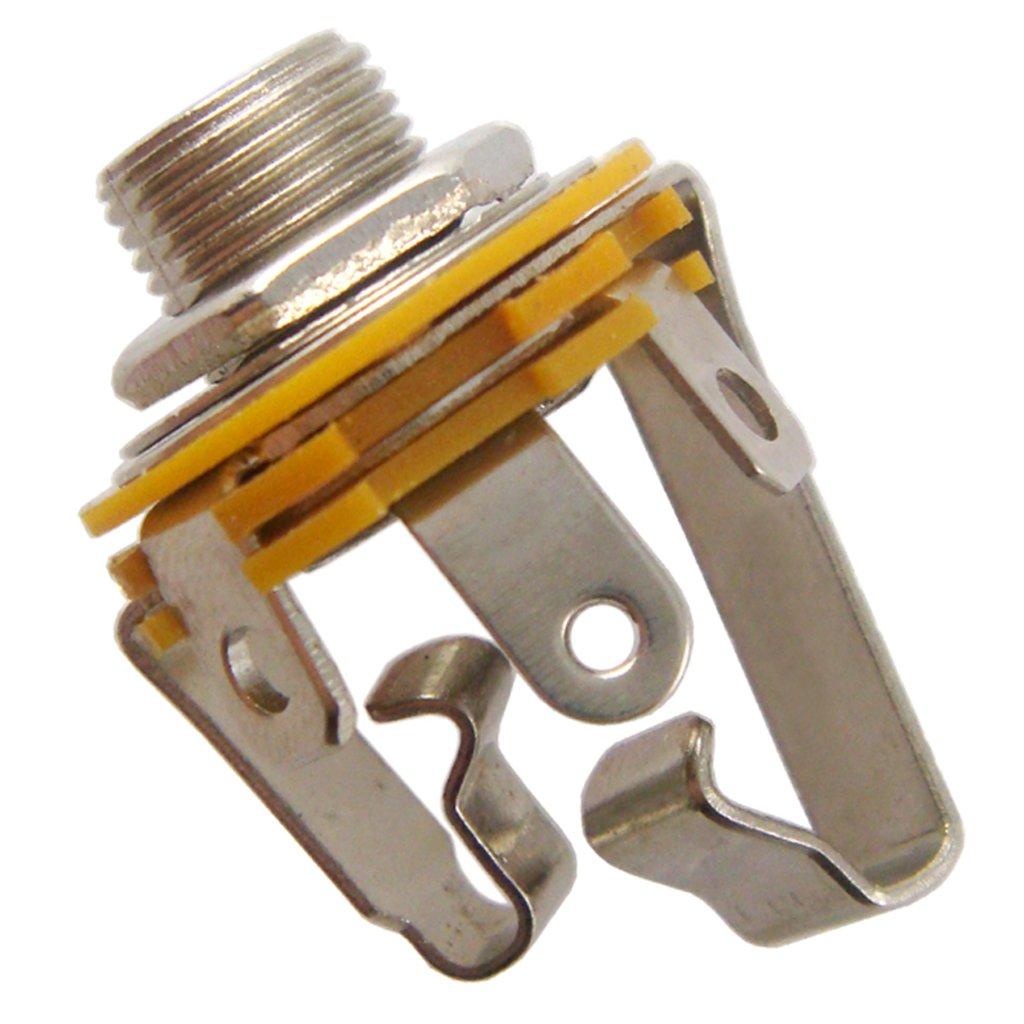 Sharplace Conector Hembra de Salida de Estéreo de Salida Recogida Desde 1/4 6.35mm Jack para Guitarra - Plata