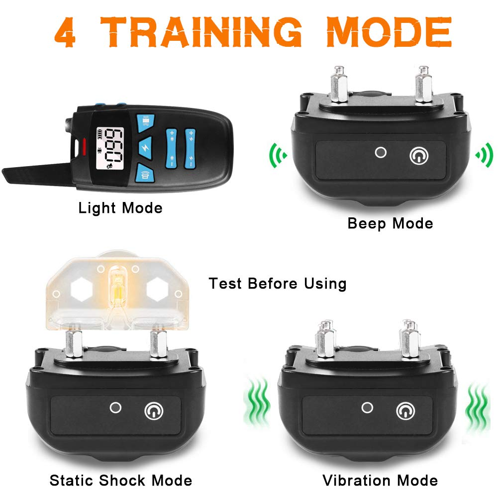 Petunits Dog Training Collar, Rechargable Waterproof 1500FT Remote Dog Shock Collar bark Headcollar with Beep Vibration Shock Electronic Collar for Dogs All Breeds