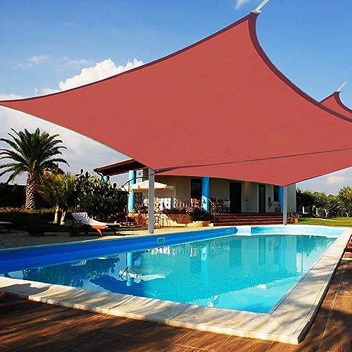 Yescom 2pc 18×18 Square Sun Shade Sail Patio Deck Beach Garden Outdoor Canopy Cover UV Blocking Dark Red