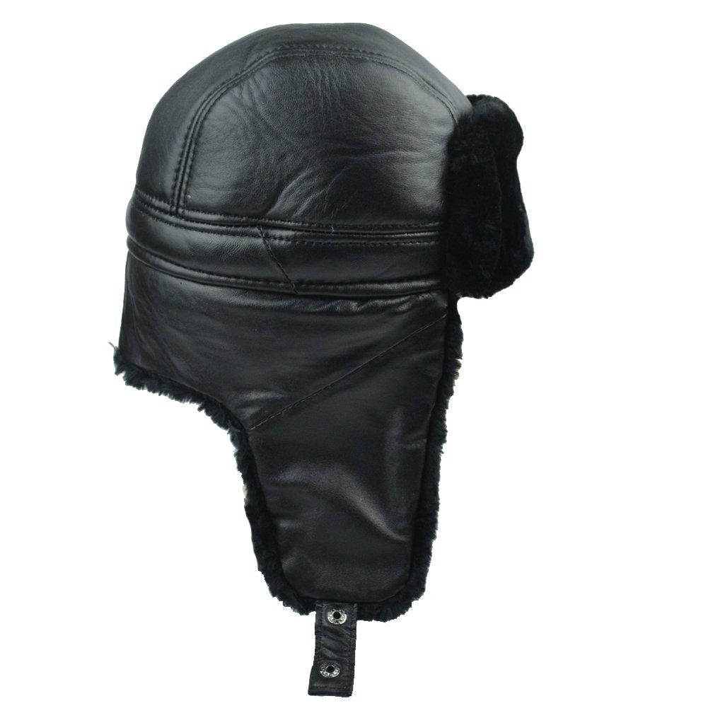 061881393b8 Sandy Ting Trapper Trooper Leather Hat Windproof Warm Ear Flaps ...