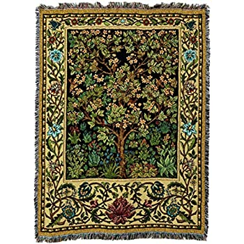 Pure Country Weavers - William Morris Tree of Life Woven Large Soft Comforting Throw Blanket with Artistic Textured Design Cotton USA 72x54