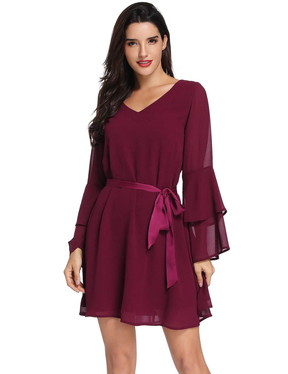 Azalosie Womens Long Sleeve Tunic Dress V Neck Summer Chiffon Short  Cocktail Casual Evening Loose Swing Solid Dress