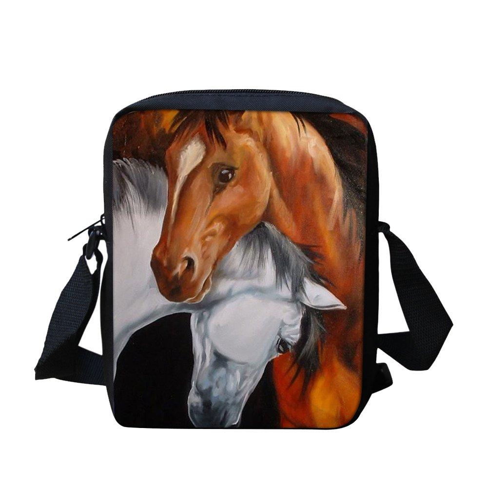 Horses Shoulder Bags for School Crossbody Messenger Bag for Kids Travel