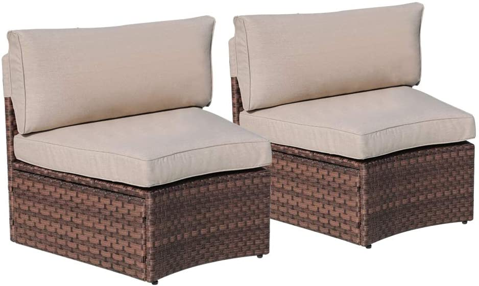SUNSITT Outdoor 2-Piece Half-Moon Sectional Woven Sectional Set with Beige Cushions: Kitchen & Dining