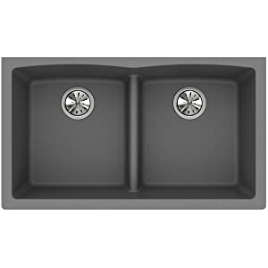 Elkay Quartz Classic ELGDULB3322GS0 Greystone Equal Double Bowl Undermount Sink