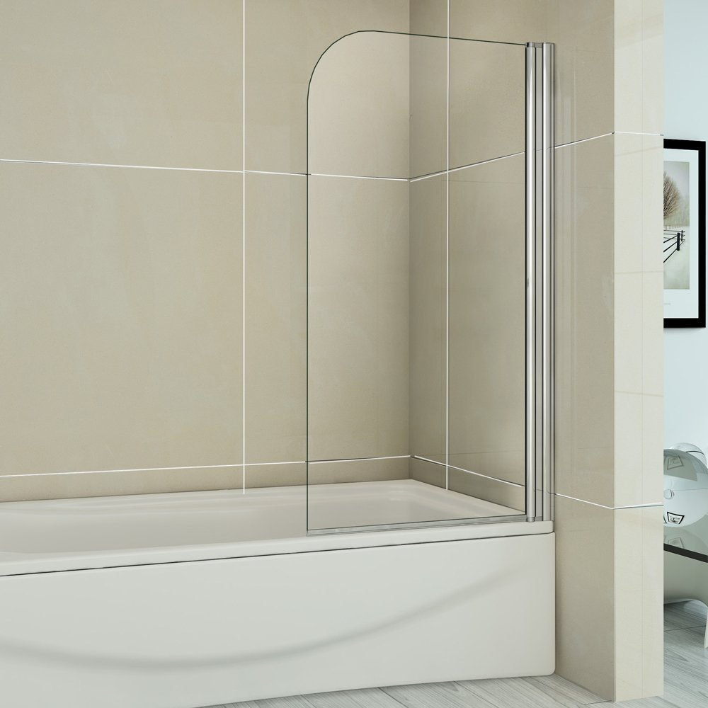 Completely new 800x1500mm Single Curved Frameless Shower Over Bath Screen  ND25