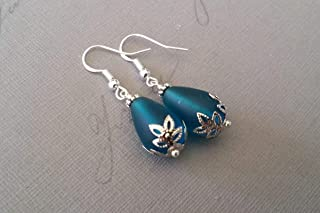 product image for Handmade in Hawaii, teal blue sea glass earrings, (Hawaii Gift Wrapped, Customizable Gift Message)