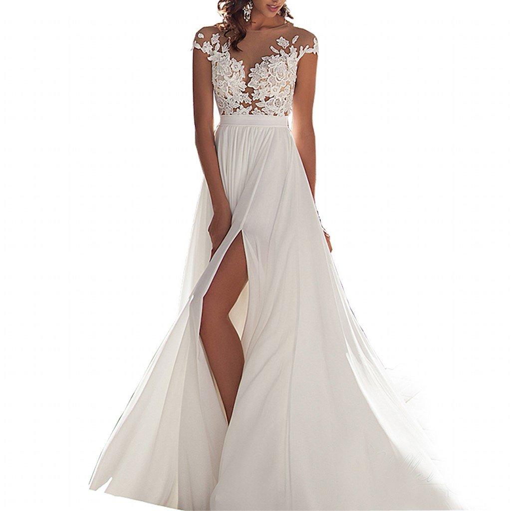 Chady Chiffon beach wedding dress 2016 lace back long tail wedding gowns bride dresses for weddings