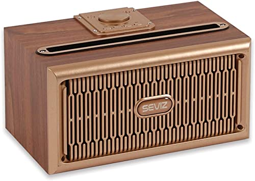 SEVIZ Gold Retro Wireless Bluetooth Speaker, 20W Stereo Sound, Bluetooth 5.0 with 4 Hours Playback, for Home, for Outdoor, for Travel, FM Radio, Vintage Speaker, Wooden Speaker
