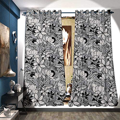 BlountDecor Thermal Insulating Blackout Curtain Botanical Pattern with Hand Drawn Flowers Frangipani Mimosa and Lotus Customized Curtains W96 x L108 Black White Pale Grey