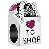 Pugster Antique Shopping Bag Heart Love To Shop Purple Birthstone Crystal Charm Beads Fit Pandora Bracelet