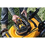 Dewalt 20v max lawn mower, 3-in-1, 2 batteries (dcmw220p2) 27 push mower comes with powerful brushless motor and (2) 20v max* batteries working simultaneously for high power output. 3-in-1 push lawn mower for mulching, bagging and side discharging battery lawn mower has heavy-duty 20-inch metal deck