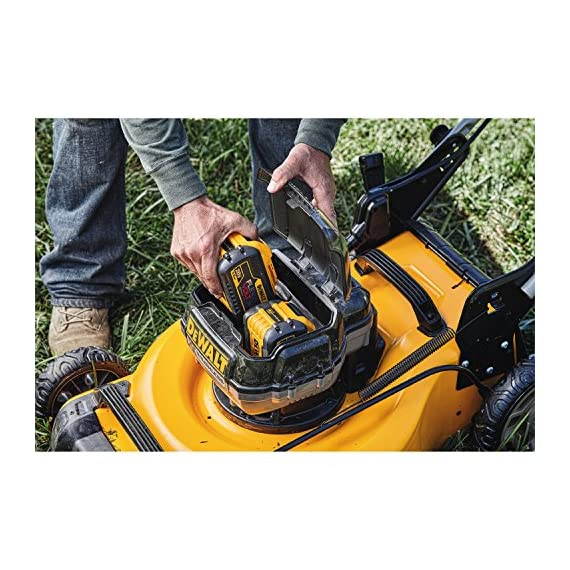 Dewalt 20v max lawn mower, 3-in-1, 2 batteries (dcmw220p2) 11 push mower comes with powerful brushless motor and (2) 20v max* batteries working simultaneously for high power output. 3-in-1 push lawn mower for mulching, bagging and side discharging battery lawn mower has heavy-duty 20-inch metal deck