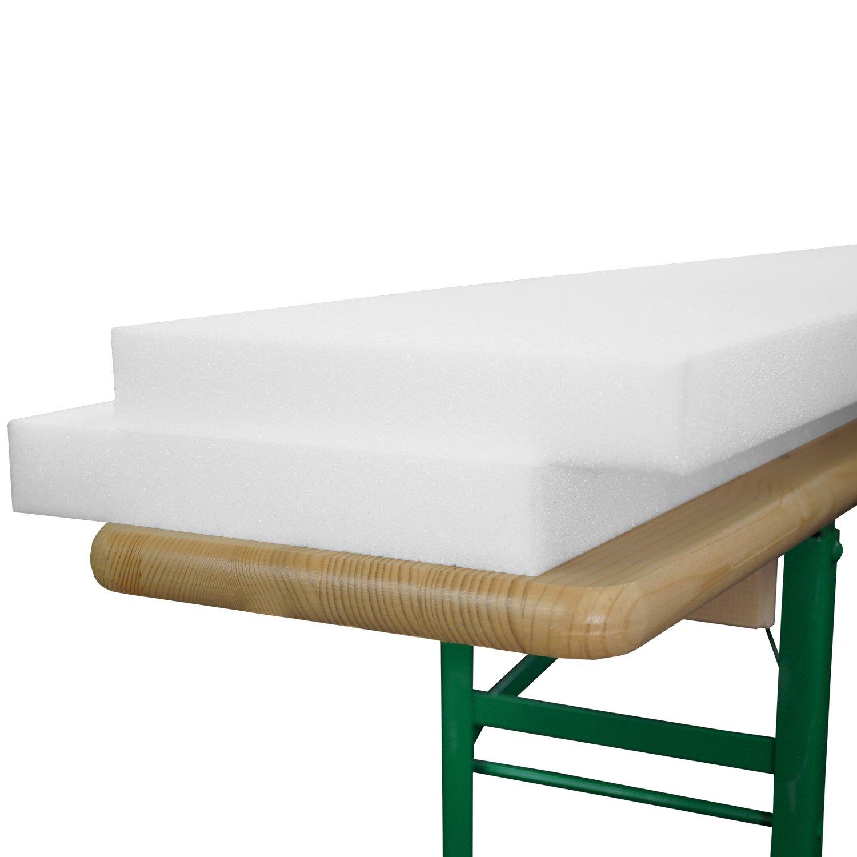 Beautissu Set da due cuscini sfoderati in gommapiuma per panche di legno 25x220x4cm - per sagra birreria feste catering