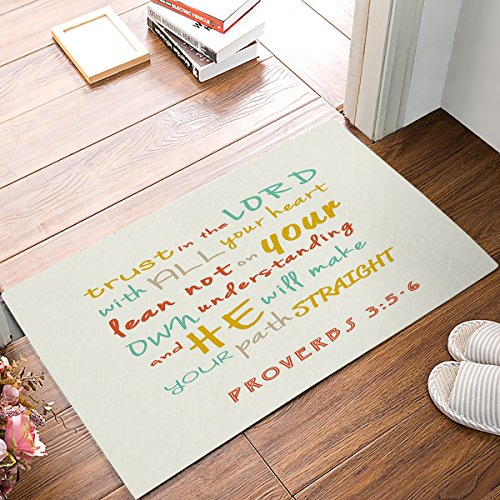 Bible Verse Scripture Quotes Proverbs - Trust in The Lord with All Thine Heart Bathroom Rugs Toilet Sets Super Soft Machine Washable Bath Mats 18x30inch ()