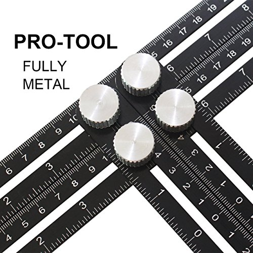 ANGLE Multi-Angle Measuring Ruler: FULL-METAL Template Tool (Black) - Perfect For Handymen, Builders, Craftsmen, Carpenters, Roofers, Tilers, DIY-ers & GREAT GIFT by ZivaTech