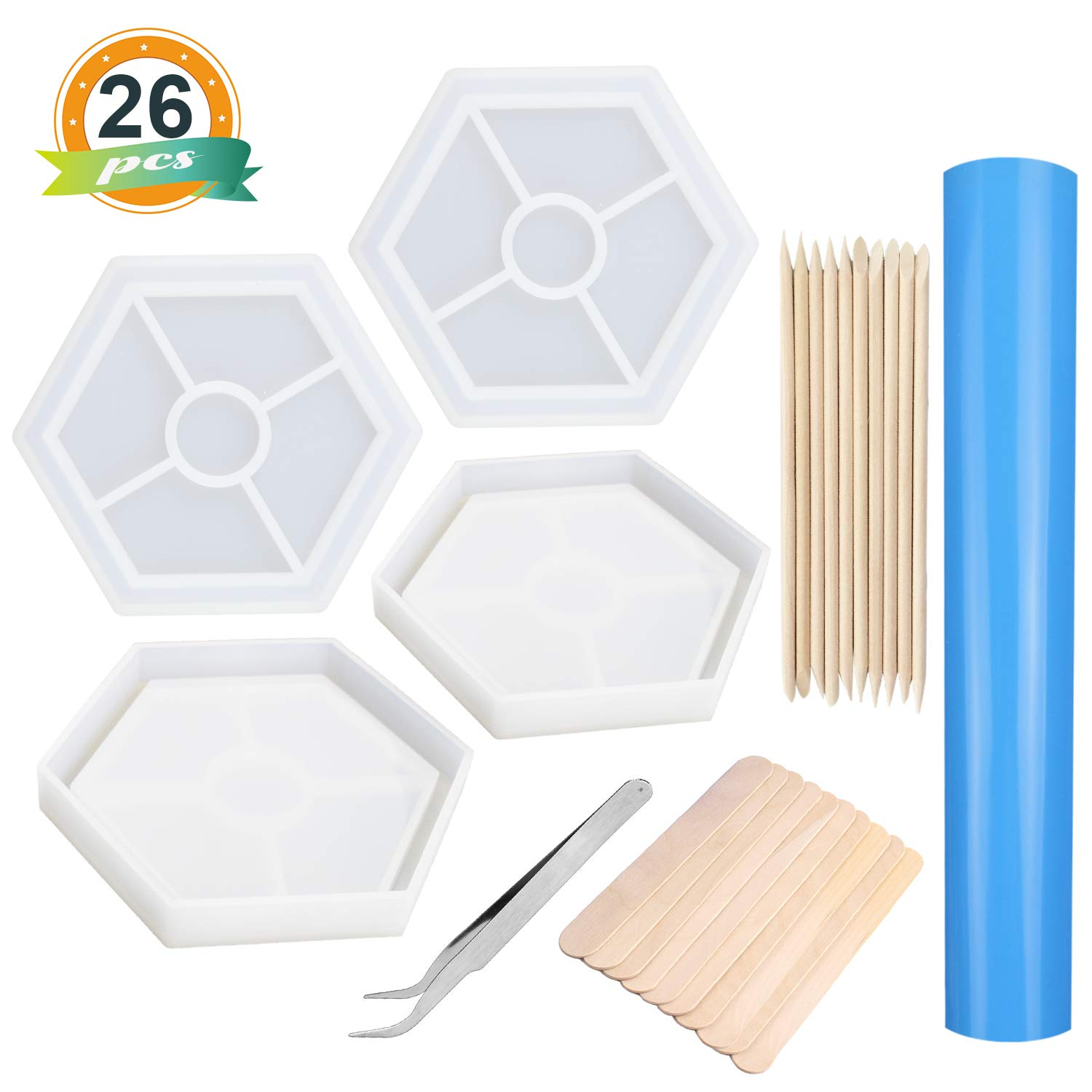 LET'S RESIN Silicone Coaster Molds Epoxy Resin Molds, 4Pcs Shiny Resin Casting Molds for Coasters, Candle Holders, Flower Pot Holders, Bowl Mat etc, Including Round, Square, Hexagon, Heart Shape Mold