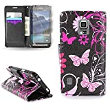 CoverON® for Samsung Galaxy S5 Active (G870) Wallet Case [CarryAll Series] Flip Credit Card Phone Cover Pouch with Screen Protector and Wristlet Strap - Pink butterfly (Will Not Fit Other S5 Models)