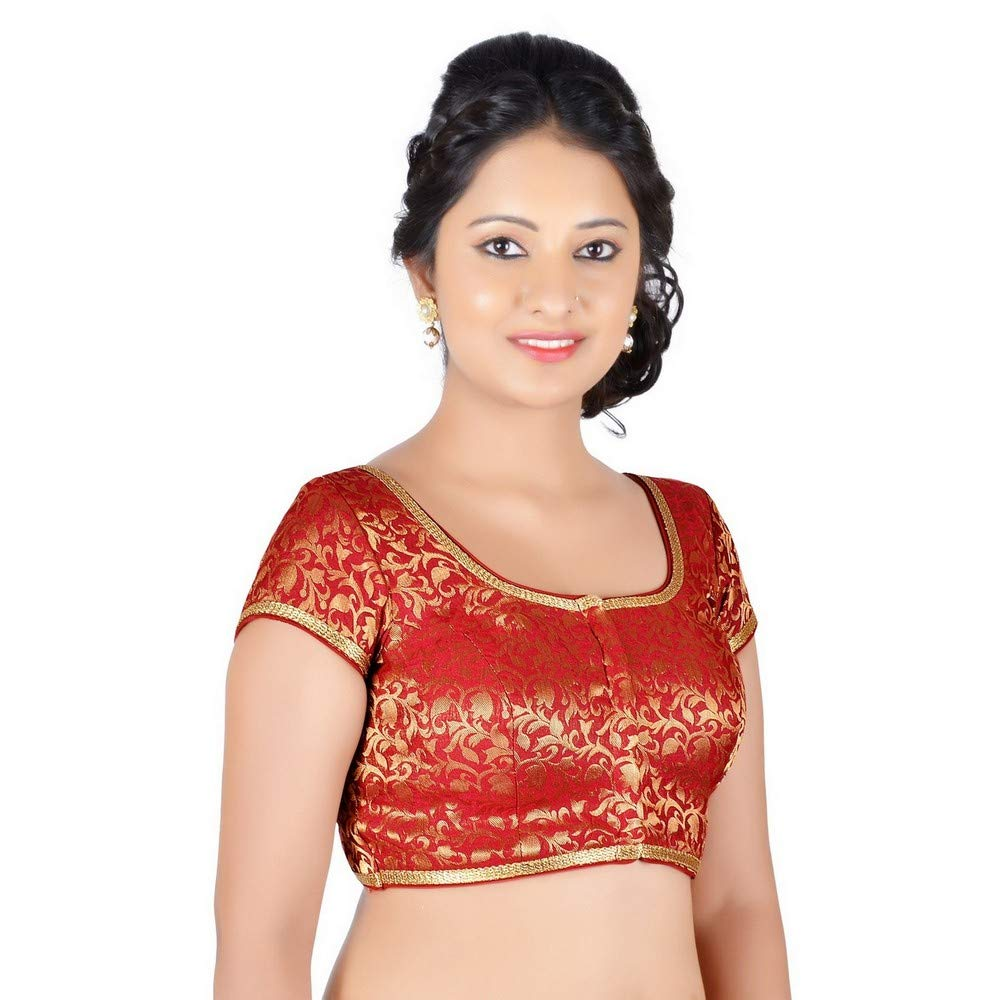 Maroon Designer Indian Traditional Brocade Silk Padded Cap Sleeves Saree Blouse Choli (Co86B) Multiple colors Available
