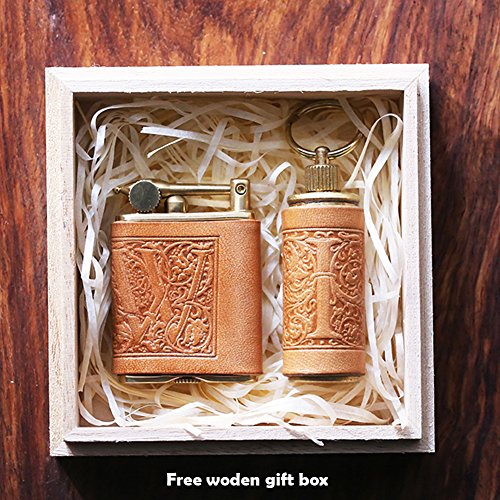 2 pcs set Personalized gift Vintage Brass Cigarette Pipe top Lighter Genuine Leather cover FREE Engraving (Embossing) - Classic Sn Brass