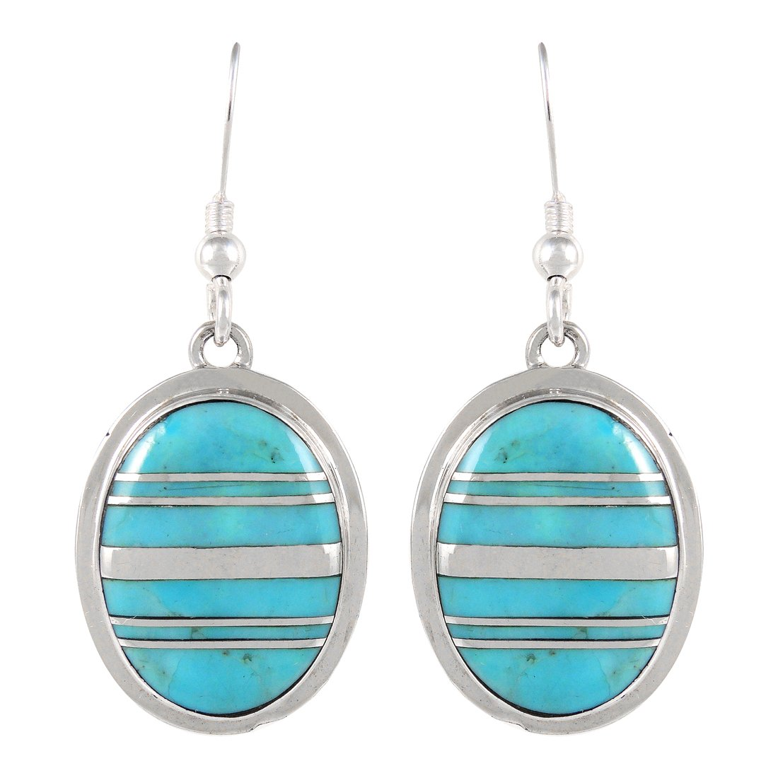 925 Sterling Silver Earrings Genuine Turquoise Dangles (Turquoise-05B)
