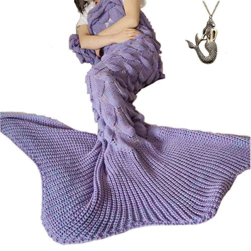 URSKY Crochet Knitted Sofa Living Room Mermaid Tail Blanket, Cozy and Soft All Season Mermaid Tail Pattern Throw Sleeping Bag For Adult, Teens and Child (Scale Fancy Tail Light Purple)