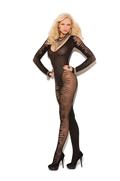 341df47c7 Image Unavailable. Image not available for. Color  Women s Long Sleeve Sheer  Jacquard Crotchless Bodystocking