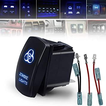 Rocker Switch Fog Lights LED Light with Jumper Wire Blue 12V LED Lights