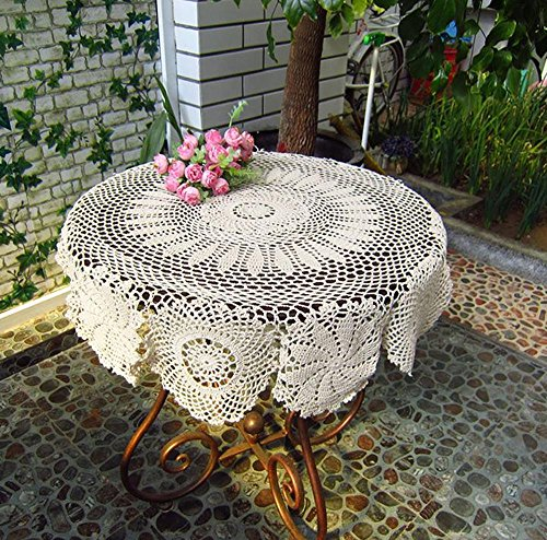 27-35 Inch Round 100% HANDMADE Crochet Lace Tablecloth,Beige,27 Inch