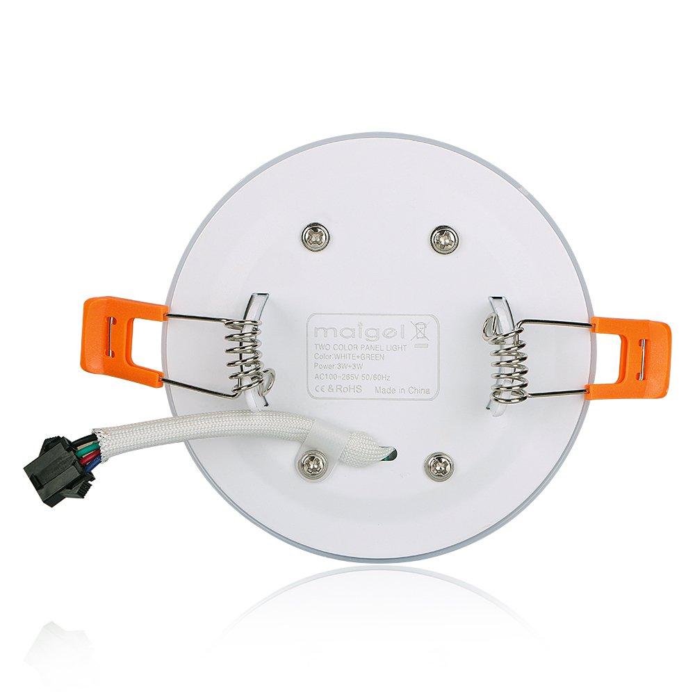 (2 Pack)Led Foco Empotrable Techo,Maigel 3+3W White+Blue Downlight Lámpara de techo Marco Redondo,de techo de iluminación incluye bombilla LED para salón o ...