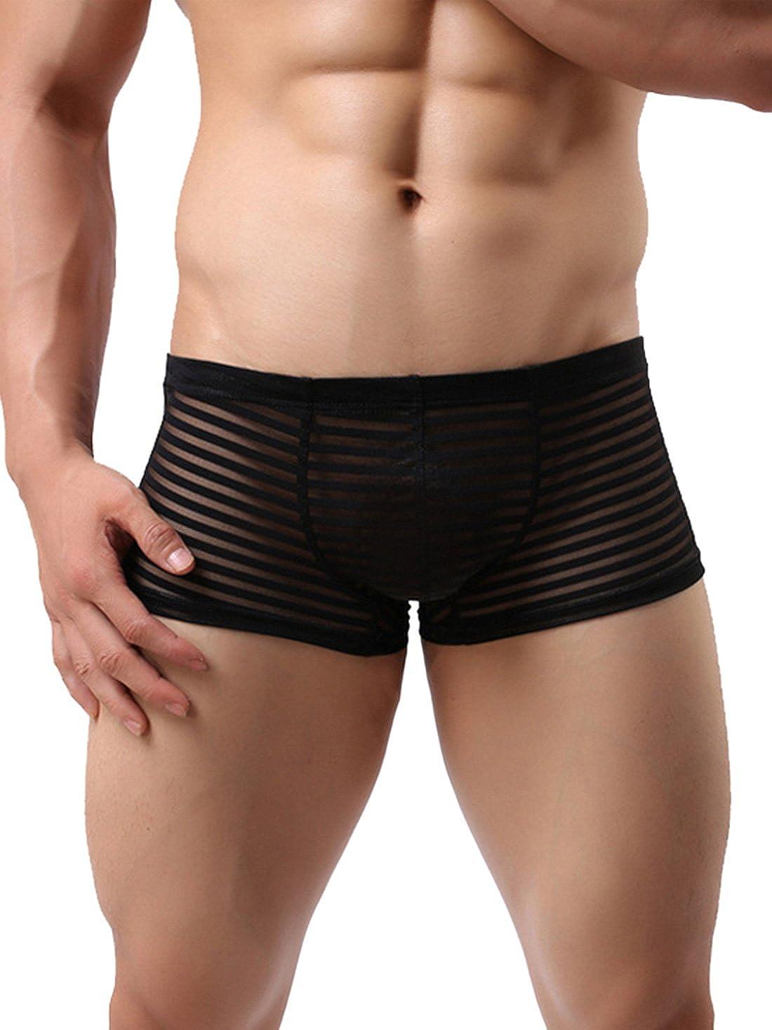 TALLA L / ES 38-40. Neiyiku Calzoncillos Bóxer Briefs para Hombres con Rayas Transparentes Slip Transpirable Cómodo Ligera