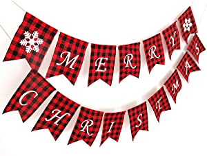 Merry Christmas Banner with Two Snowflake Flags Buffalo Plaid Decoration for Fireplace Wall Tree Wall Garden Indoor Outdoor Christmas Banner