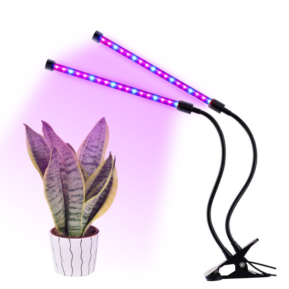 LED Plant Grow Light, Acetek 18W 36LEDs Double Heads Grow Lamp with Desk Clip for Green House Hydroponic Indoor Plants Veg Flower, Flexible Goose neck, 2 Level Dimmable [Energy Class A+++]