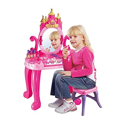 Bohui Toys 2-in-1 Princess Vanity Table and Chair Beauty Play Set, with Multifunctional Piano Dresser Table & Makeup Accessories, Comb, Hair Bands and Hair Dryer for 2,3,4 Years Old Kids: Kitchen & Dining