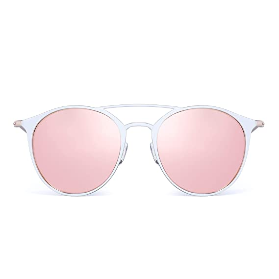 JIM HALO Gafas de Sol Redondas Polarizadas Para Mujer Metal Aviador Lente de Espejo UV400