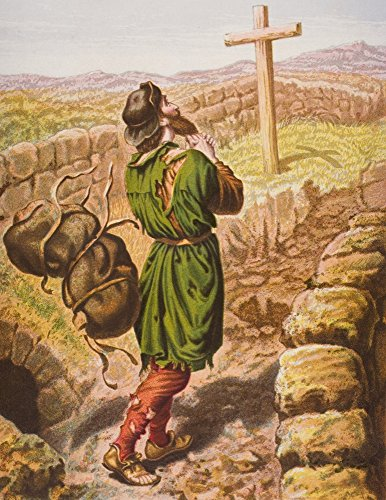 Christian Loses His Burden At The Cross From The Book The Pilgrims Progress By John Bunyan From Late 19Th Century Edition Poster Print (13 x 16) ()