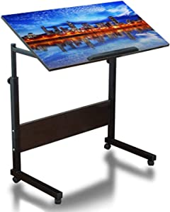 Mobile Laptop Desk Height Adjustable Table Montreal Cityscape Reflection at Sunset Small Rolling Couch Desk Laptop Tray Portable Laptop Stand Desk Mini Computer Table