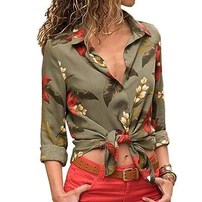 Txrh Camisa Floral para Mujer, Sexy, con diseño de Flores, a Rayas, para Verano, Manga Larga, para Mujer, Oficina, Camisa de Mujer (Color: 100087 Verde, tamaño: XL): Hogar