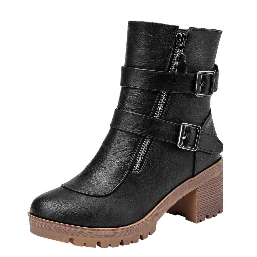 New Respctful✿ Women Buckle Strap Block shoesbooties Cut OutStacked Heel Ankle Boot Black by Respctful_shoes
