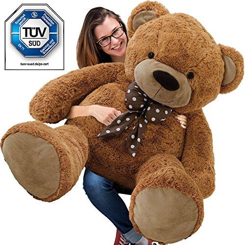 XXL Kuschel-Teddybär 150 cm (diag.) groß in Braun - Kuscheltier Stofftier Plüschbär Teddy
