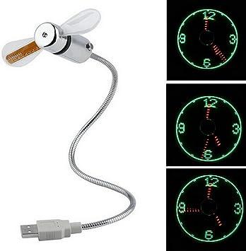 UEETEK USB reloj ventilador Flexible USB Mini LED destella ventilador programable editar Word para PC Laptop Notebook escritorio: Amazon.es: Electrónica