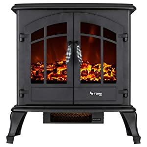 e-Flame USA Jasper Portable Electric Fireplace Stove (Matte Black) - This 23-inch Tall Freestanding Fireplace Features Heater and Fan Settings with Realistic and Brightly Burning Fire and Logs