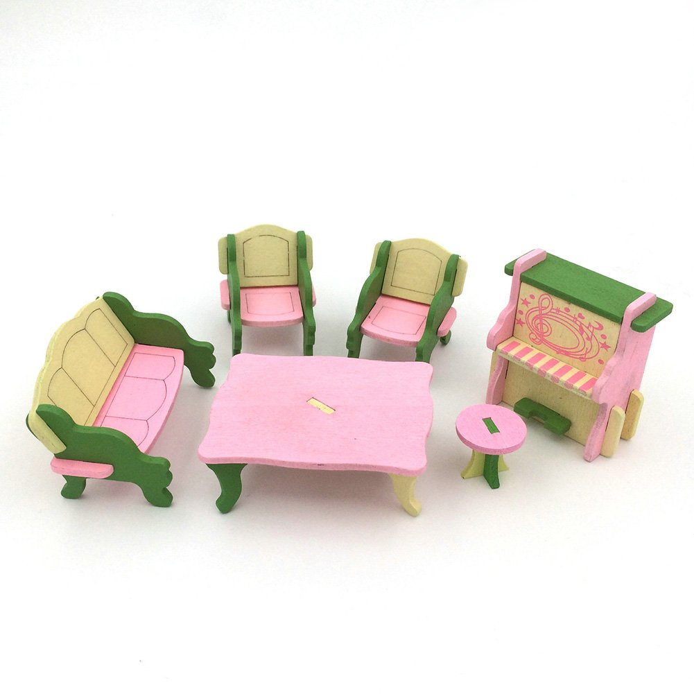 Lanlan 3D Classic Victorian Wooden and Upholstered Dollhouse Living Room Mini Furniture Toilet